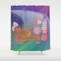 drunk Shower Curtains featuring Drunk Cat by Graphic Tabby