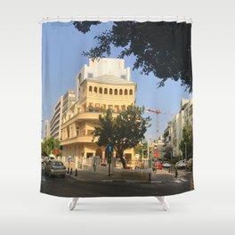 Tel Aviv Pagoda House - Israel Shower Curtain