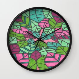Pink and Green Palm Leaves Print Wall Clock
