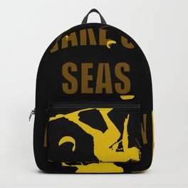Wake Up Seas The Day Kiteboarder Brown and Yellow Backpack