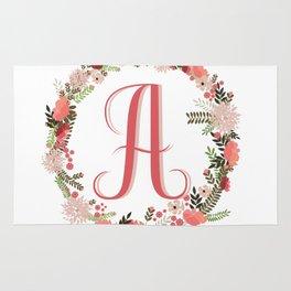 Personal monogram letter 'A' flower wreath Rug