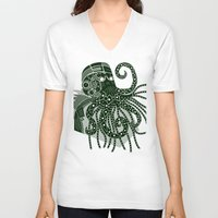 cthulhu V-neck T-shirts featuring Cthulhu by Hinterlund