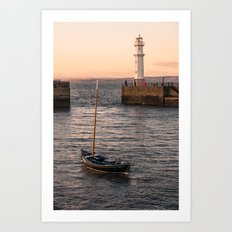 Lighthouse at the Harbor Art Print