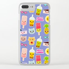 Hello Summer Pineapple, cherry smoothie cup, ice cream, sun, cat, cake, hamster. Kawaii cute face. Clear iPhone Case