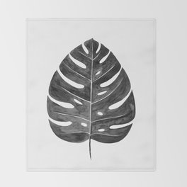 Monstera Leaf | Black and White Throw Blanket