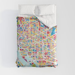 Washington DC Street Map Comforters