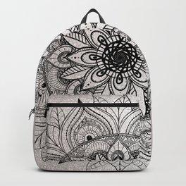 Elegant faux silver glitter black henna mandala Backpack