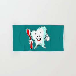Dental Care happy Tooth with Toothbush Hand & Bath Towel