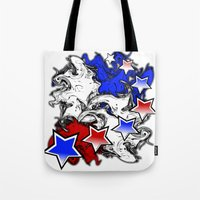 american Tote Bags featuring AMERICAN  by Robleedesigns