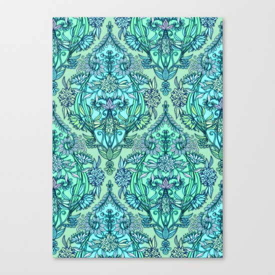 Botanical Moroccan Doodle Pattern in Mint Green, Lilac & Aqua Canvas Print