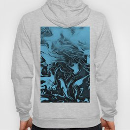Blue and Black Swirls (fusion) - light blue and black gradient abstract swirls Hoody