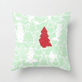 Elegant Green Christmas Trees Holiday Pattern Throw Pillow