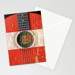 Old Vintage Acoustic Guitar with Peruvian Flag Stationery Cards