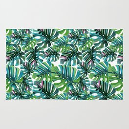 Elephant Tropical Leaves Pattern Rug