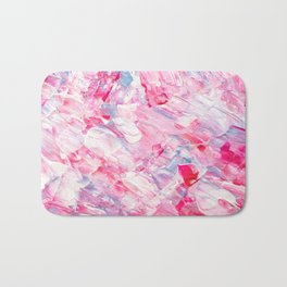 Pink white brushstrokes candy acrylic paint Bath Mat