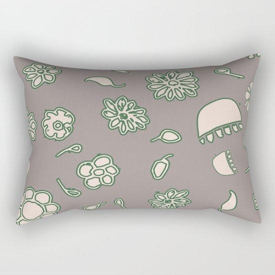 Flower border green Rectangular Pillow
