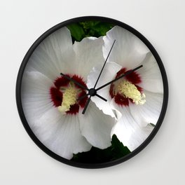White Hibiscus Working Together Wall Clock