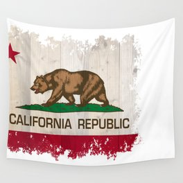 California Republic state flag - distressed edges on spruce planks Wall Tapestry