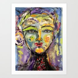 A Song on my mind Abstract Face Art Art Print