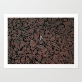 Volcanic rocks and a man in a space suit Art Print