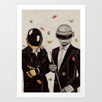 daft punk Art Prints featuring Daft Punk by The White Deer