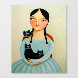 Woman with Three Black Cats painting by TASCHA Canvas Print