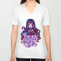 pastel goth V-neck T-shirts featuring Goth Penanggalan by Gunkiss