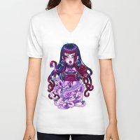 pastel goth V-neck T-shirts featuring Goth Penanggalan by Gunkiss