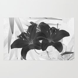 Contemporary Black Lily Flower Floral Art A116 Rug