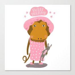 Sweet Dreams Monkey & Bunny Canvas Print