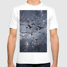 Woodland Crows And Bursting Stars White Mens Fitted Tee MEDIUM