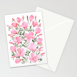 Pink watercolor California poppies Stationery Cards