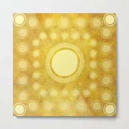 """Gold & Yellow Ethnic Sun (Pattern)"" Metal Print"