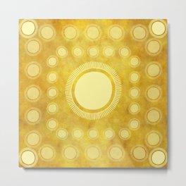 """Gold & Yellow Ethnic Sun Mandala"" Metal Print"