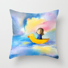 A girl in a boat, sea, cosmos, space, stars, duck, dreamer Throw Pillow