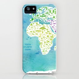 worldmap continents and oceans iPhone Case