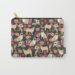 Pug floral dog breed must have gifts for pug lover pet pattern florals Carry-All Pouch