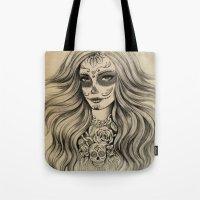 sugar skull Tote Bags featuring Sugar Skull by Vivian Lau