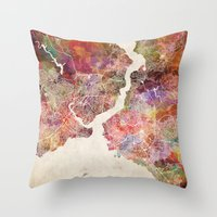istanbul Throw Pillows featuring Istanbul by MapMapMaps.Watercolors
