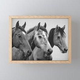 Horses - Black & White 3 Framed Mini Art Print