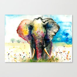 RAINBOW ELEPHANT WATERCOLOR Canvas Print