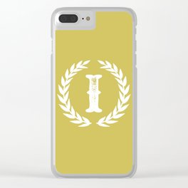 Mustard Yellow Monogram: Letter I Clear iPhone Case