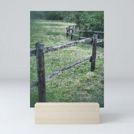 Wooden fence at the paddock Mini Art Print