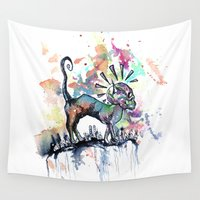 punk rock Wall Tapestries featuring Punk Rock Skull Kitty Owns this City by Jessi Adrignola