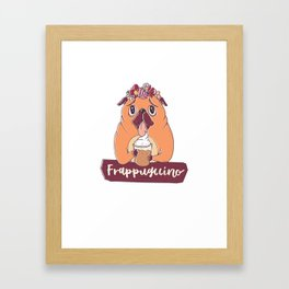 Pug Dog Frappugccino Coffee Lover Framed Art Print