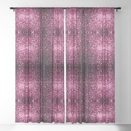Beautiful Dark Pink glitter sparkles Sheer Curtain