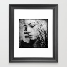 Another World - surreal dreamy portrait, woman nature photo, tree nature portrait Framed Art Print