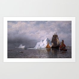 Whaler and Fishing Vessels by William Bradford - Hudson River School Vintage Painting Art Print