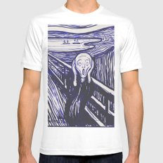 The Scream's Haze (dark blue) Mens Fitted Tee White MEDIUM