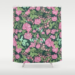 Pink repeating flower pattern Shower Curtain